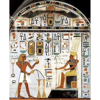 140.-Цар-перед-Амоном.-Фрагмент-розпису-каплиці-Хатор-у-храмі-Тутмоса-3
